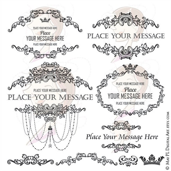 country french frames chandelier ornate victorian vintage antique curly leaf borders graphics oval horizontal motif clip