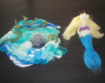 SALE Was 65USD All Seasons Fairytale Mermaid Playscape With Mermaid. Wet and needle felted Playscape. All Seasons. Measures 19x19cm.