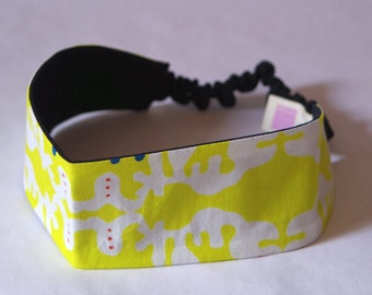 "Headband made with original fabric ""Suika-suika"" yellow"