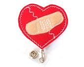 Bandage Heart - Heart Surgery Badge Holder - Cardiac Nurse Badge - Felt Badge Reel - Peds RN Badge - Congenital Heart Defect - Badge Blooms