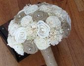 Handmade Wedding Burlap Bouquet, Sola Bouquet, Alternative Bouquet, Burlap Bouquet, Handmade Bouquet,