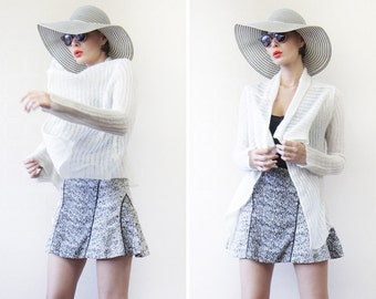Vintage white sheer knit long sleeve waterfall open front crop shawl cardigan top