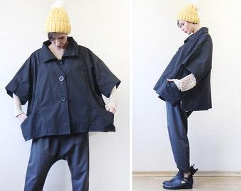 Vintage black spring women oversize balloon trench raincoat outerwear jacket coat