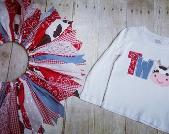 Made to Order - Cow Applique Two Shirt with Cowgirl Scrap Tutu - Red Bandana, Gingham, Denim, Lace - 2nd Birthday Outfit