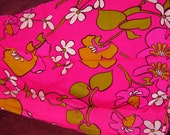 Vintage 70's hot pink crepe fabric  3yds+ Hawiian print FREE SHIPPING