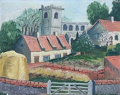 An English country scene with a Church in the Background, original vintage oil painting on board by Dennis Cox, 1980s. Greens and Pinks.