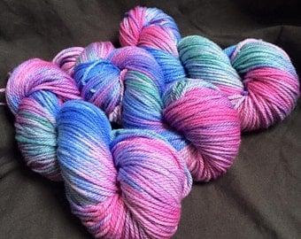 Painted Iris hand dyed aran weight yarn