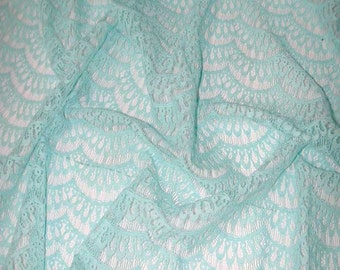 """No. 300 French Chantilly (Turquoise) Scalloped Lace , 3+ Yards x 46"""""""