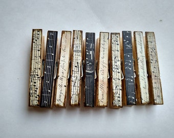 Black & White Music Note Themed Decoupage Clothespins Set of 10