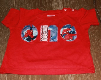 ONE - Red, Spiderman Birthday First birthday shirt - 12 month short sleeve, Personalization available