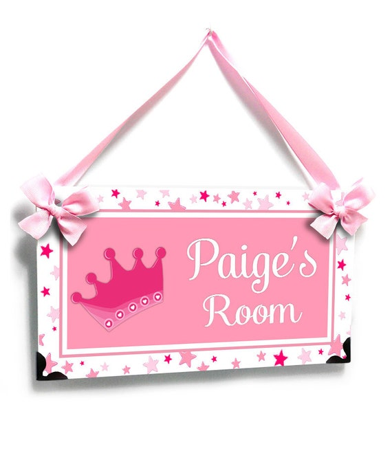 Personalized Bedroom Door Sign Baby Girl Room Pink Crown With