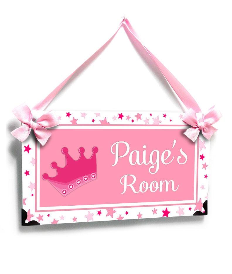 Personalized Bedroom Door Sign Baby Girl Room Pink Crown With