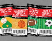 Sports Valentine Cards football Printable Customized Classroom PDF
