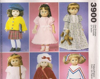 "McCall's Crafts Sewing Pattern 3900 - 18"" Doll Wardrobe"