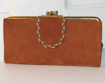RESERVED BUXTON LEATHER Wallet // Brown Suede Wallet Clutch 60's Deadstock New Old Stock 70's Boho Gold Change Purse Braided Fall