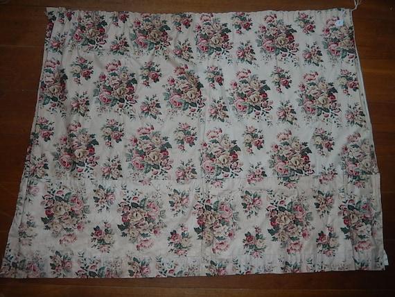 Vintage French Roses Chintz Glazed Cotton Fabric Curtain