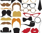 70% Sale Mustache Party Digital Clipart - Scrapbooking , card design, invitations, photo booth, web design - INSTANT DOWNLOAD