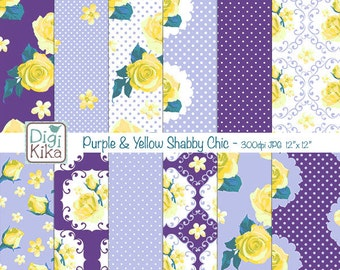 Purple and Yellow Shabby Chic Digital Papers, Shabby Chic Scrapbook Papers - design, invitation, paper craft - INSTANT DOWNLOAD