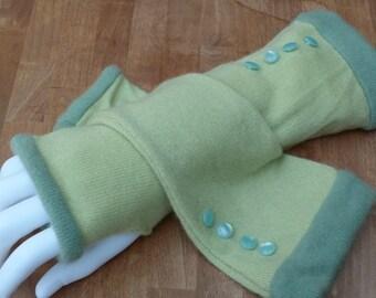 Light green and sage cashmere fingerless gloves