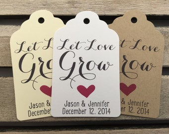 Wedding Gift Tags - Let Love Grow - Wedding Favor Tags - Customizable Personalized (WT1684)