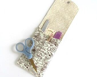 Knitting Needle Case, Crochet Hook Holder, Needle Organizer, Make Up Brush Case - Peace Always