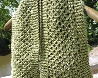 Green Foliage Acrylic Wool Mesh Knitted Super Soft Scarf