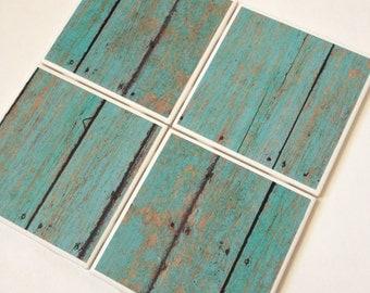Set of 4 // Teal Wood Coasters // Tile Coasters // Ceramic Coasters // Ceramic Tile Coasters // Drink Coasters / Wood Coasters / Coaster Set