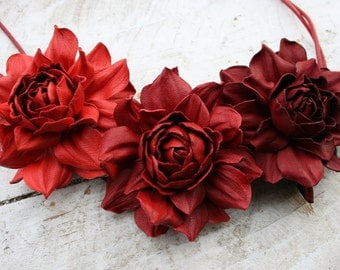 Three shades of red leather rose bib necklace - Made to Order