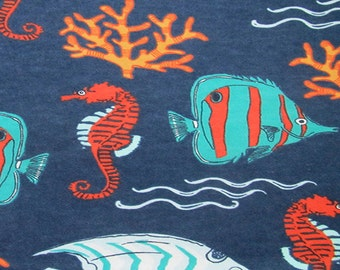 Flannel by the Yard – Fish and Coral 100% Cotton Flannel