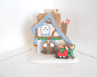 Partylite Christmas candle house / Ceramic Bisque / Gingerbread House / Winter Chalet