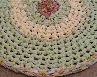 Crochet Rag Rug Mint Julep Round Artisan Cottage Chic Gypsy Eco Friendly Textile Art Hand Made Kitchen Bath Nursery Dorm Pet Dog Cat