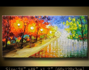 contemporary wall art,, Modern Textured Painting,Impasto  Landscape  Textured Modern Palette Knife Painting,Painting on Canvas by Chen hh58