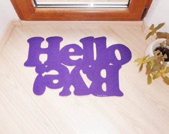 "Doormat personalized mat / rug with double message ""Hello / Bye""."