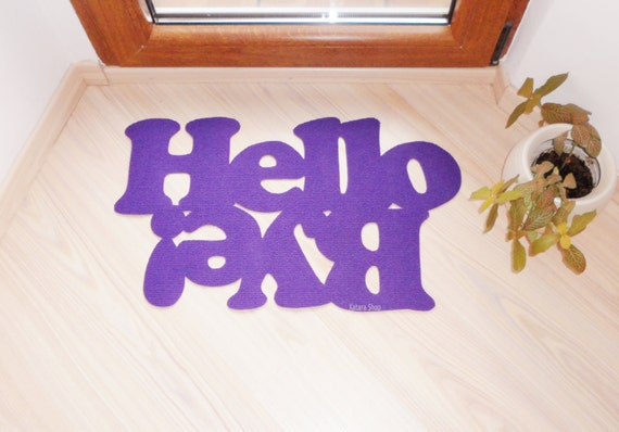 """Doormat personalized mat / rug with double message """"Hello / Bye""""."""
