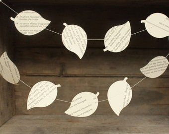 Paper Garland, Paper Leaf Garland, Book Page Garland, Leaf Garland, Leaf Bunting, Paper Bunting, Leaf Decorations, 10 feet long