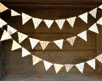 Book Page Garland. Paper Garland, Party Decoration, Triangle Garland, Arrows Garland, Geometric Garland, Triangle Bunting, 10 feet