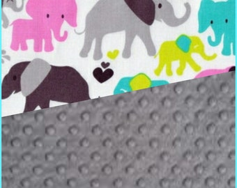Baby Blanket Cotton Elephant Minky backing 19 colors Carseat Blanket Crib Blanket Minky Blanket