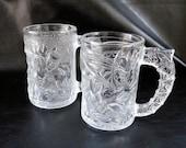 Batman and Robin glass mugs, vintage 90s superhero McDonald's character cups, set of 2