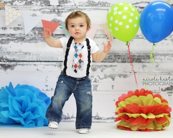 Baby Boy Tie Bodysuit with Suspenders Grey Argyle - Little Man, Argyle, Photo Prop, Boys First Birthday, 1st Birthday, Mustache Party