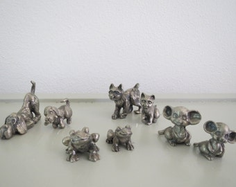 A vintage set of small miniature metal animals frogs,cats,dogs,mice 8x