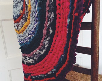 "29"" round colorful rag rug"
