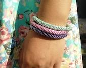 Galvanised Pink Green and Purple Beaded Handmade Bracelets Set, TOHO Galvanized Japanese Seed Beads,Nepal, High quality