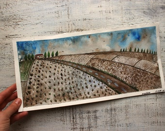 Spring landscape original watercolor painting 7x13 fields country toscana