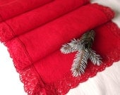 Red linen table runner Christmas home decor natural washed linen and lace gift idea