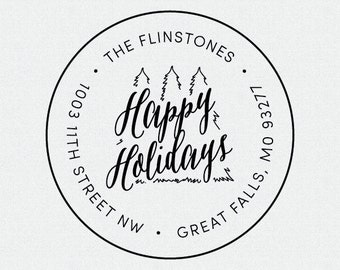 Happy Holidays Christmas Tree Round Rubber Return Address Stamp, Self Inking, Circle Stamp, Christmas Card Address Stamp, Gift (T85)