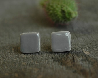 Man Gray Stud Earrings Geometric Minimalist Square Earrings Grey Unisex Ceramic Post Contemporary Desing  Hypoallergenic Earrings