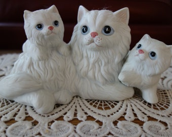 Vintage Cats, Figurines, White, Cat and Kittens, Ceramic, Cat Family, Knick Knacks, Collectibles, Sculpture, Home Decor, Cat Family, Felines