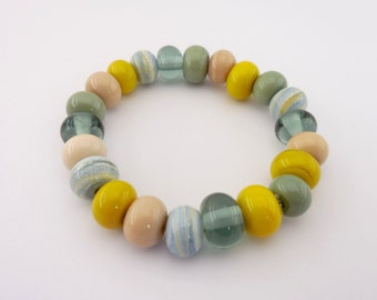 Lampwork beaded bracelet - yellow ochre, soft pink, eucalyptus green