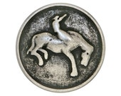 3 Bronco Cowboy 3/4 inch ( 20 mm )  Metal Buttons Antique Silver Color