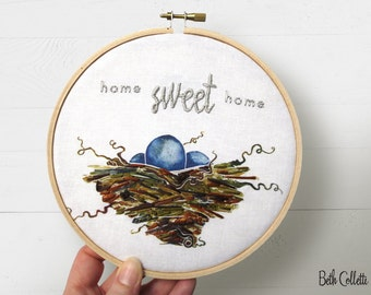 Home Sweet Home Embroidery Hoop Art, Modern Rustic Housewarming Gift, Farmhouse Decor, Country Home Decor, Woodland Wall Art Gift for Friend